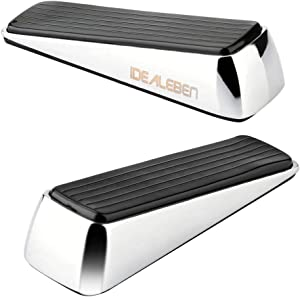 [2 Pack] Doorstop / Door Buffers Made of Stainless Steel and Rubber, Non-Slip, Robust Door Wedge, Black / Silver