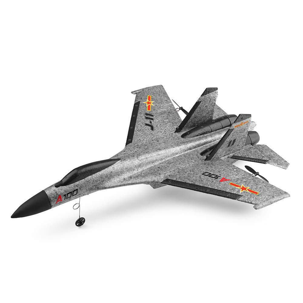 Hisoul WLtoys A100 SU-27 RTF Glider 2.4G 3CH Built-in Six-axis Gyroscope RC Airplane for Beginners to Fly (Gray)