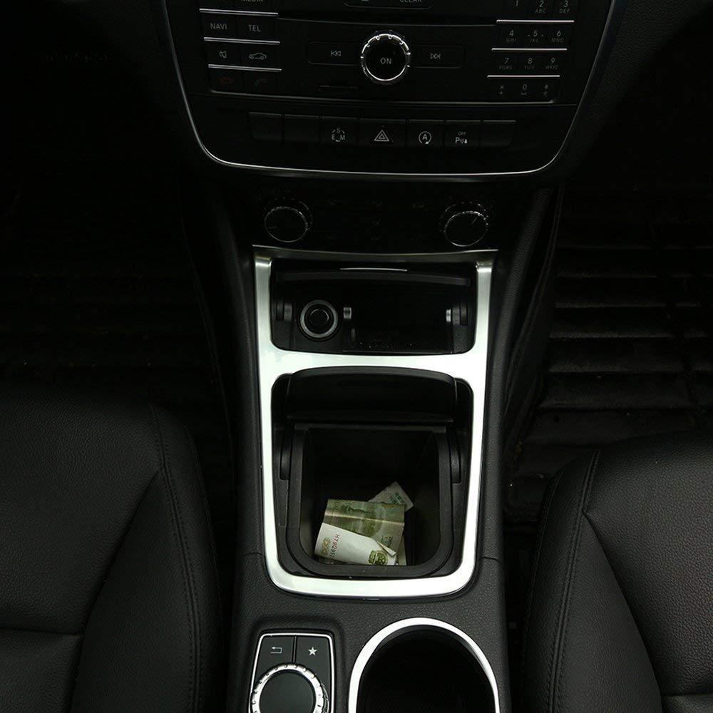 AUTO Pro for Mercedes Benz CLA GLA A Class W117 C117 2013-2017?ABS Matte Chrome Interior Accessory Center Storage Box Trim Ashtray Frame Accessories