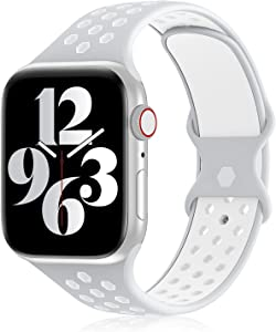 YAXIN Sports Band Compatible with Apple Watch Bands 38MM 40MM 42MM 44MM Women and Men,Breathable Soft Silicone Replacement Strap Double-color Air Holes Bands for iWatch Series 6 5 4 3 2 6 SE