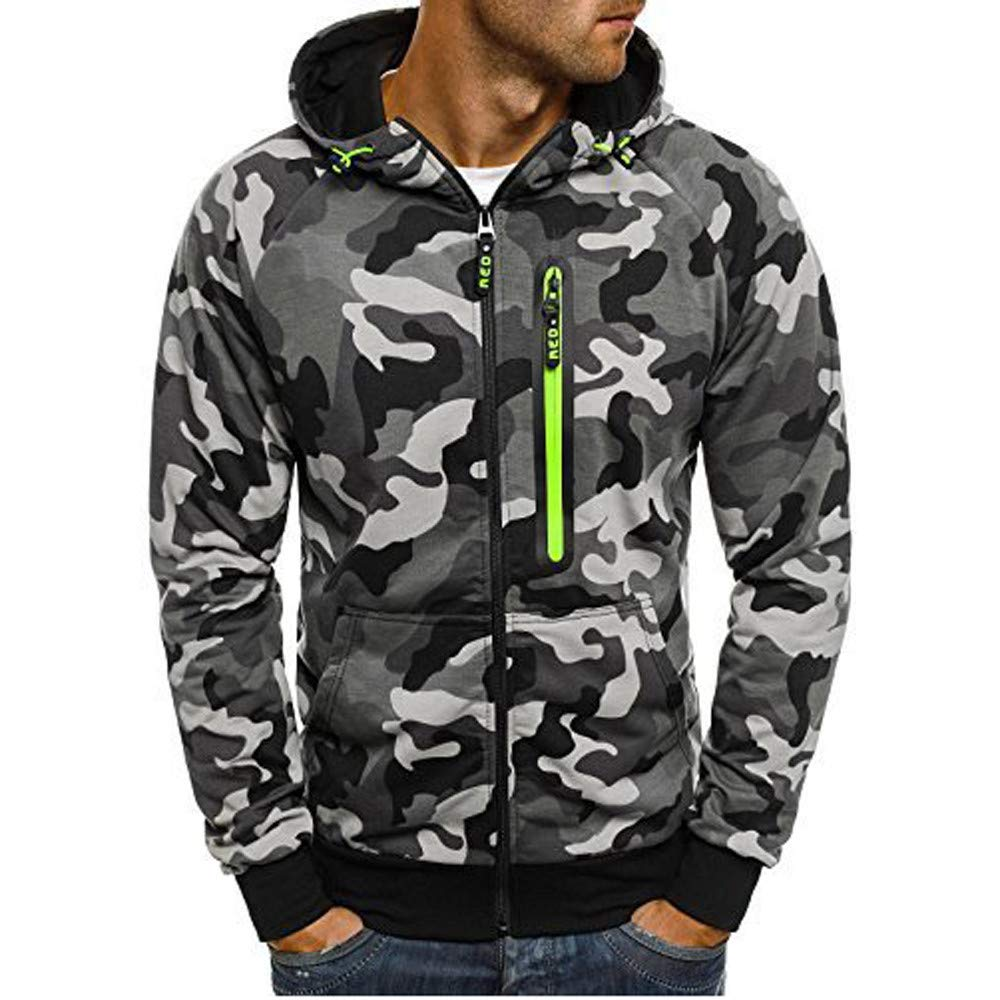 GoodLock Clearance!! Men's Fashion Camouflage Hooded Tops Casual Zipper Long Sleeve Hooded Sweatshirt Blouses
