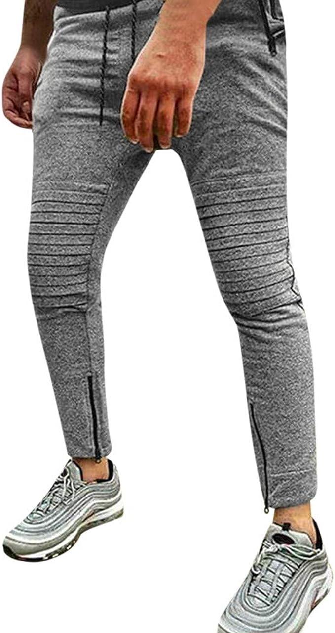 Asalinao - Pantalones de chándal para Hombre con cordón Gris L ...