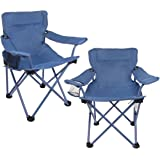 Ozark Trail 2pk Blue Folding Armchairs For Kids Small Portable Children's Outdoor Camping Seat With Cup Holder