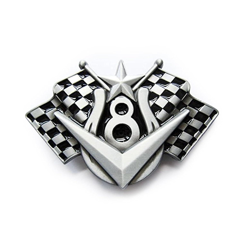 eeddoo® Gürtelschnalle - V-8 Cruising (Buckle für Wechselgürtel für Damen und Herren | Belt Frauen Männer Oldschool Rockabilly Metall Gothic Wave Rock Biker Western Trucker Casino Skull)