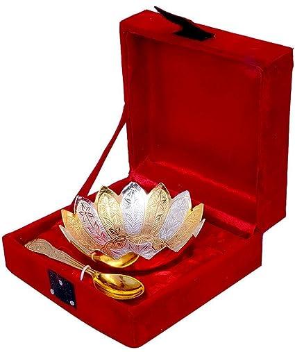 Buy Asiacraft Silver Gold Plated Designer Dry Fruit Bowl Serving