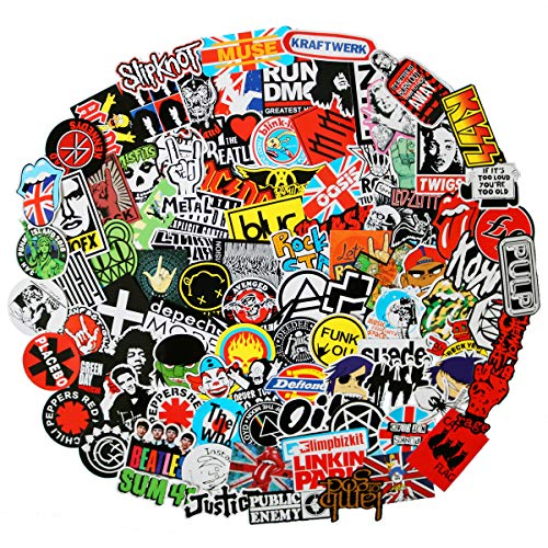 100pcs Band Stickers Pack Rock Roll Waterproof Stickers -Assorted Punk Rock Music Band, Idea for Luggage Skateboard Laptop Luggage Suitcase Book Covers etc (Rock Logo)