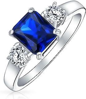 Bling Jewelry 925 Silver Emerald Cut Couleur Saphir CZ 3 Bague de fiançailles Pierre