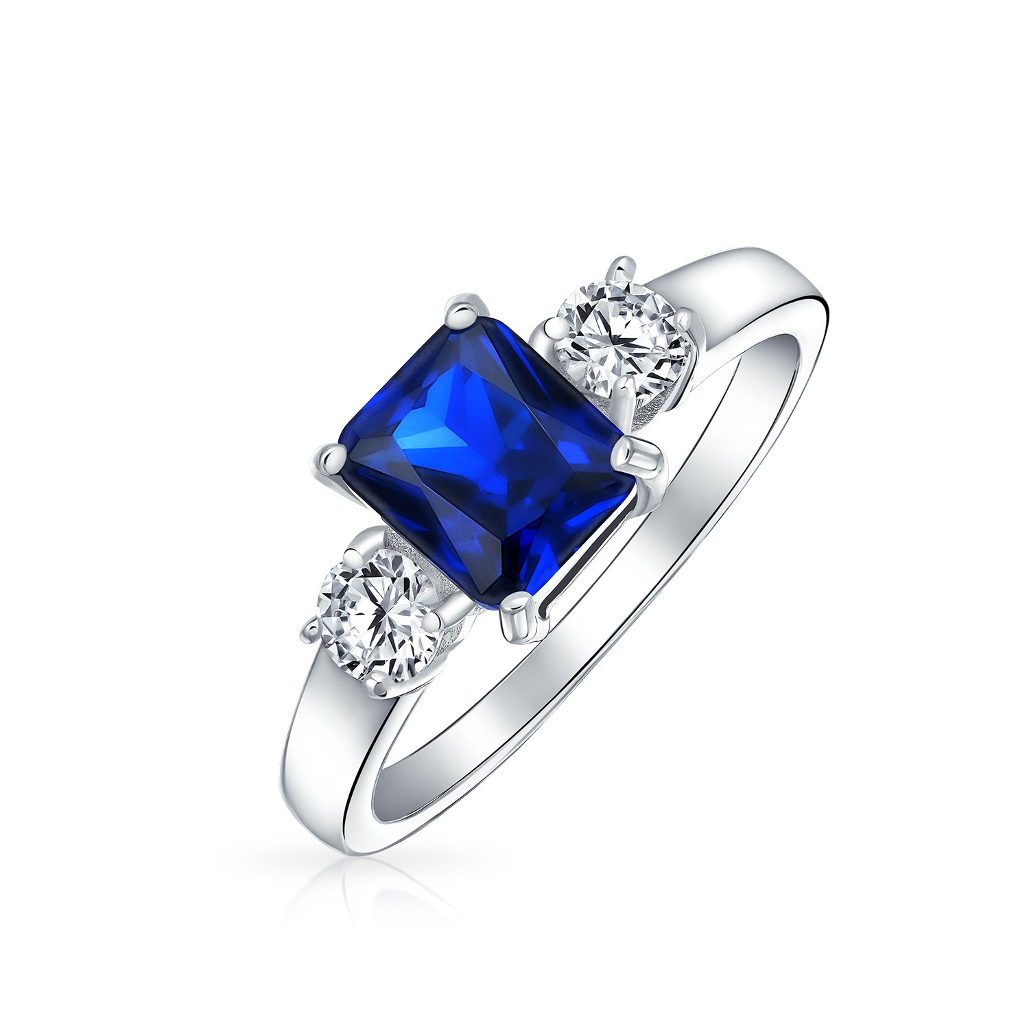 Bling Jewelry Sterling Silver 1.5 ct Emerald Cut Blue Sapphire Color CZ Three Stone Engagement Ring - Size 7