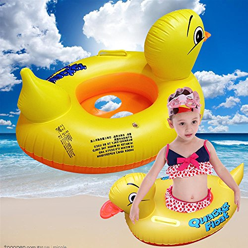Newest Yellow Duck Baby Floats with Floating Raft,Good Gift for Starting Swimming Learning Baby&kids