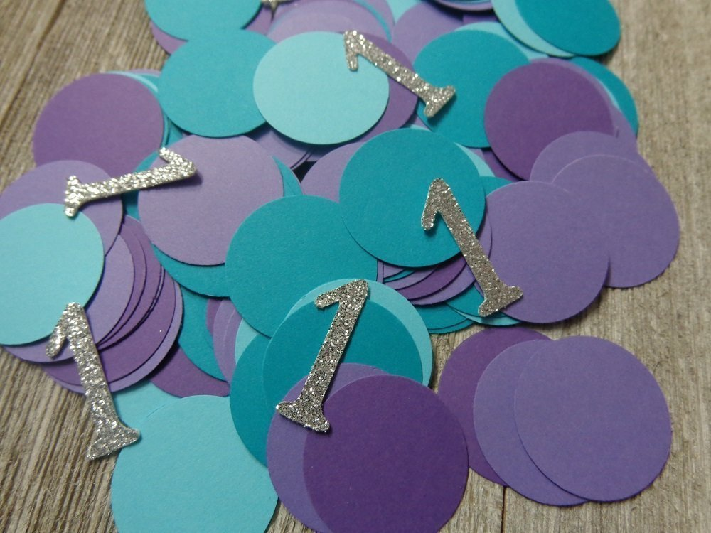 Silver Glitter First Birthday Mermaid Confetti Table Scatter - 1 inch circles ( Set of 250 Circles and 50 Silver Number 1's)