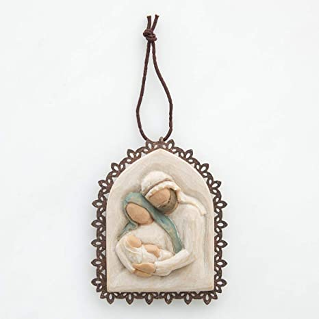 Amazon Com Willow Tree Holy Family Metal Edged Ornament Sculpted Hand Painted Bas Relief Home Kitchen