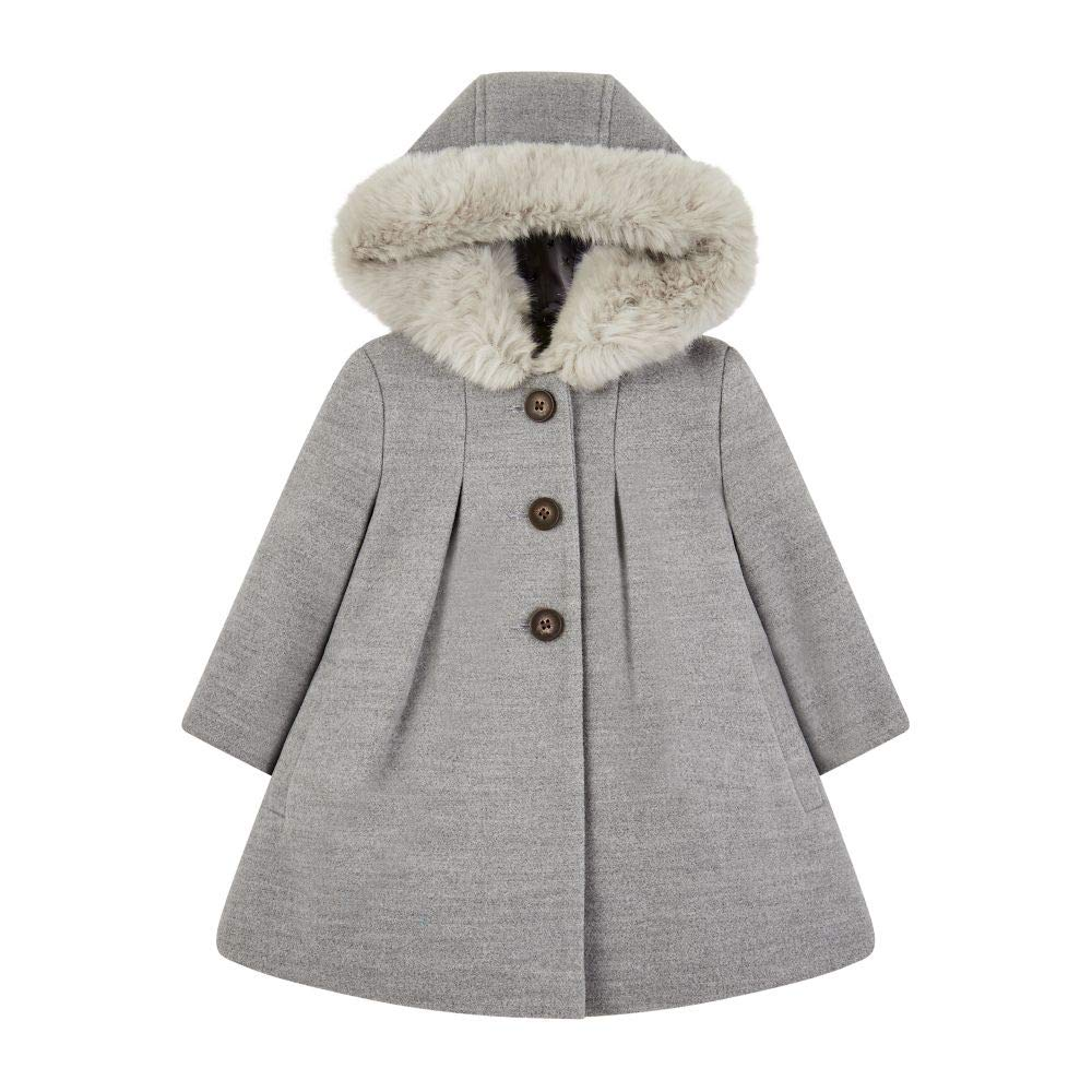 Mothercare Unisex Baby Mantel Flow Wool Blend Coat with Hood Grey