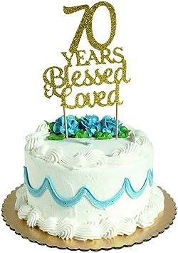 Amazon.com: Decoración para tartas de 70 años con purpurina ...