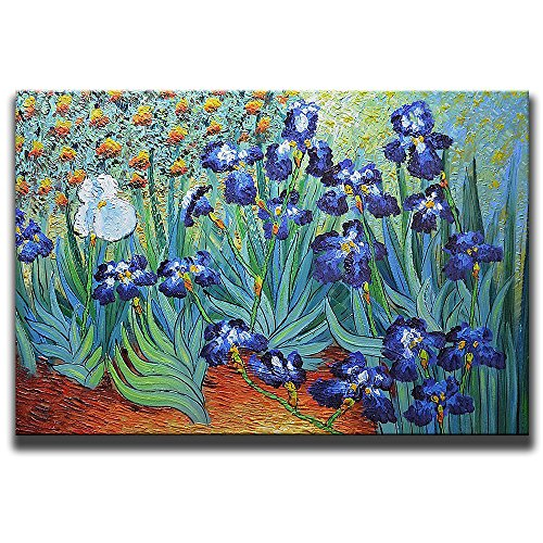 Framed Oil Painting Reproduction 24 (Desihum Hand Painted Irises By Van Gogh Reproduction Artwork Modern Stretched and Framed Floral Canvas Famous Flowers Oil Painting Green Pictures Wall Art for Bedroom Living Room Home Decor(24