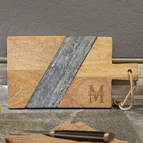 Oakmont Mango Wood & Marble Personalized Cutting Board by HomeWetBar