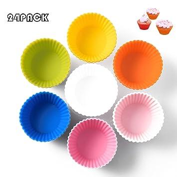 De silicona para cupcakes Cupcake Liners Moldes para magdalenas Cupcake soportes para fiesta de Navidad boda 24 paquetes), varios colores: Amazon.es: Hogar