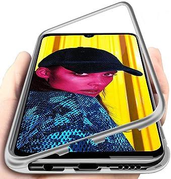 Carcasa para Huawei P Smart 2019, Funda de Fuerte Adsorción Magnética Súper Delgada Marco de Metal de Vidrio Templado Transparente con Cubierta Magnética Incorporada Caso: Amazon.es: Electrónica