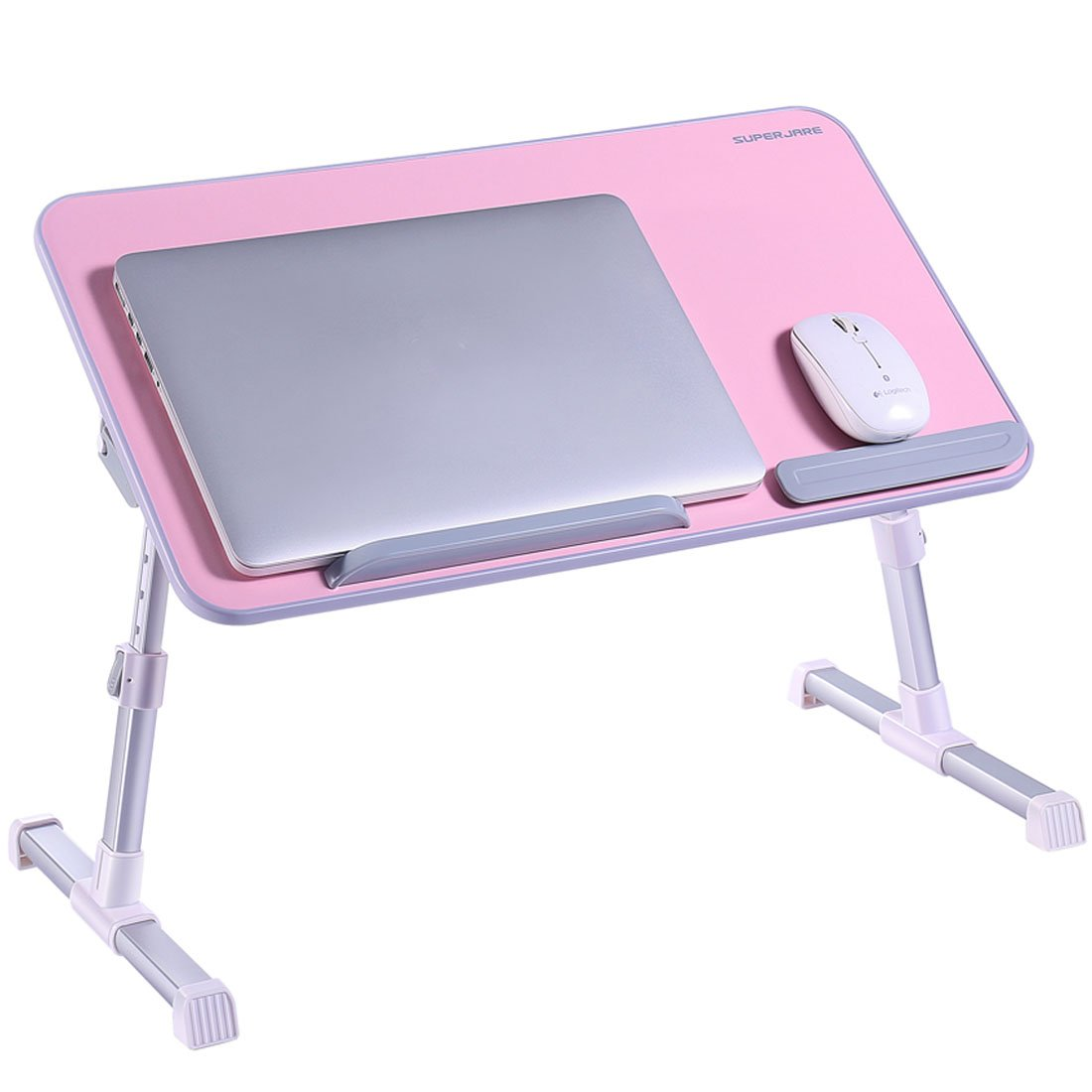 Portable Laptop Table by Superjare | Foldable & Durable Design Stand Desk | Adjustable Angle & Height for Bed Couch Floor | Notebook Holder | Breakfast Tray - Pink