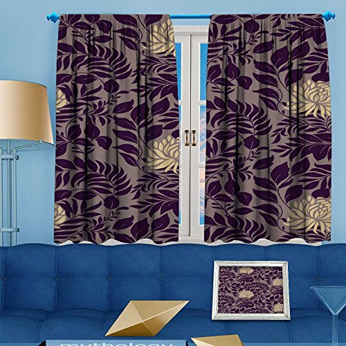 Printsonne Blackout Room Darkening Curtains vintage for retro wallpapers Window Panel Drapes Grommet Top 108