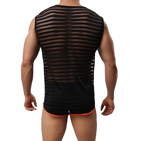 Tenchif Hombres Striped Gym Tank Top Camiseta con Chalecos Transparentes fsZIzxU