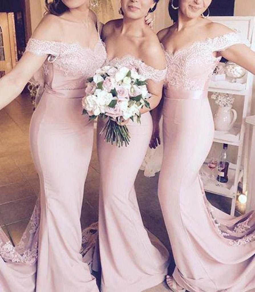 Venus Bridal Damen Meerjungfrau Abendkleid Spitze Partykleid Einfache Trompete Abendkleid Meerjungfrau Spitze Abendkleid Stil5 Rosa 67befc