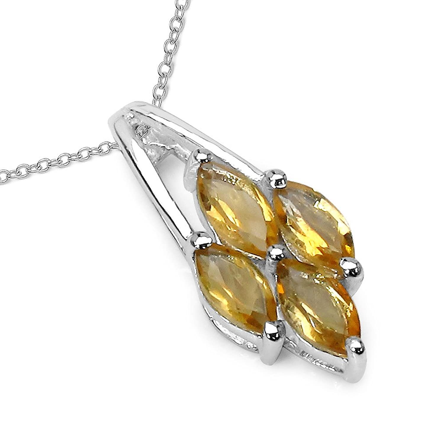 925 sterling silver unusual marquise citrine pendant with