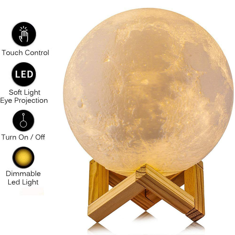 AGM Mond Lampe, Dimmbar LED Mond Nachtlicht Stimmungslicht 15cm 3D Druck Nachtlampe mit Holzhalterung und Berührungssteuerung für Kinderzimmer Schlafzimmer Cafe Bar Esszimmer (15 cm)