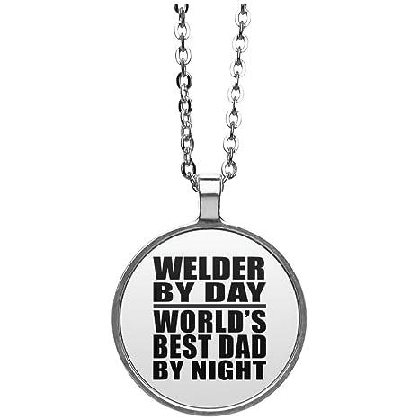 Dad collar, soldador por día mejor papá del mundo por la noche – redondo collar