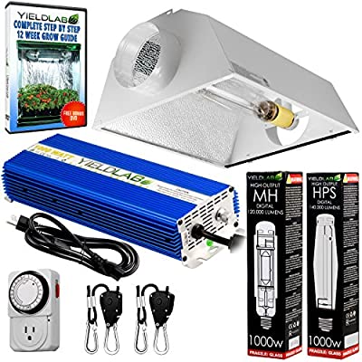 Yield Lab MH HPS Grow Light Digital Dimmable Ballast System for Plants - Air Cool Hood Reflector Set
