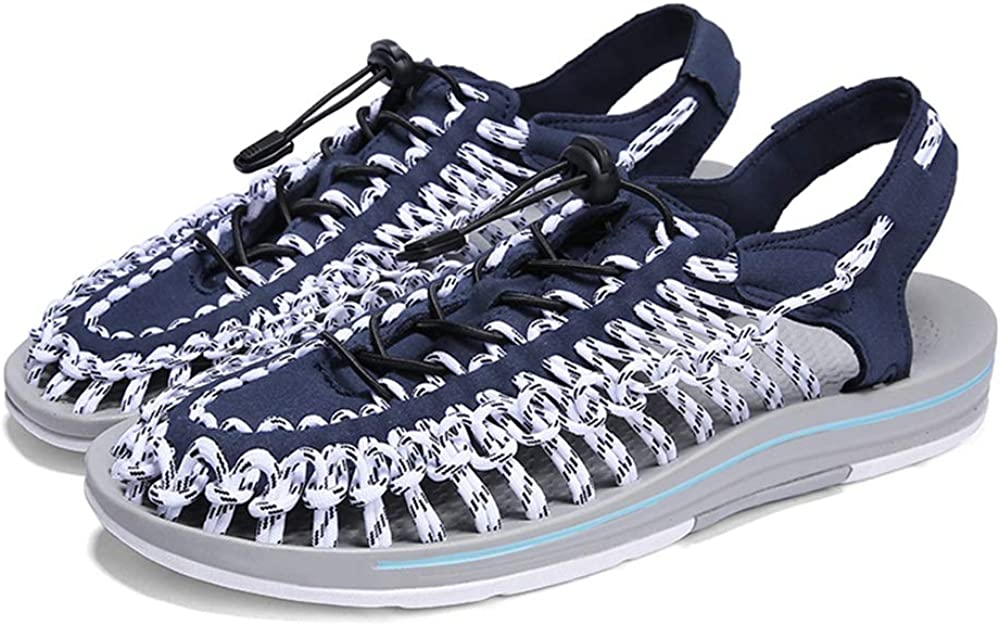 Zapatos de Punta Abierta Sandalias Deportivas para Hombres Transpirable Estilo Antideslizante Correa de Tela Banda elástica Hecho a Mano Zapatos duraderos Azul