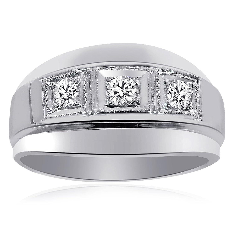 0.50 Carat Mens Round Cut Diamond Wedding Band 14K White Gold