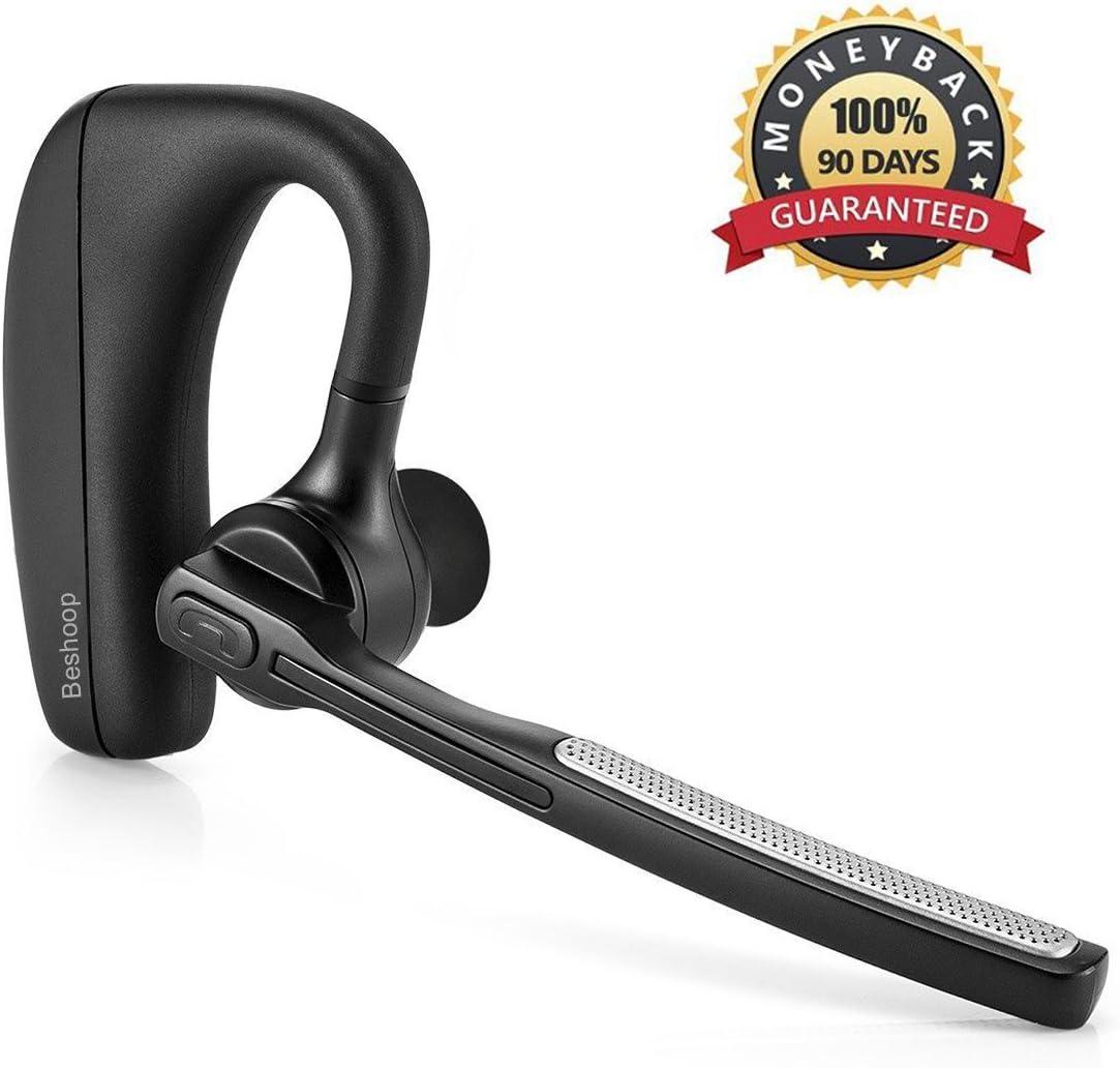 Auricular Bluetooth V5.0, Beshoop 10 Horas Conversación Auricular Inalámbrico Negocio con Manos Libres Teléfono, Cancelación de Ruido en coche para iPhone Samsung Ipad Laptop