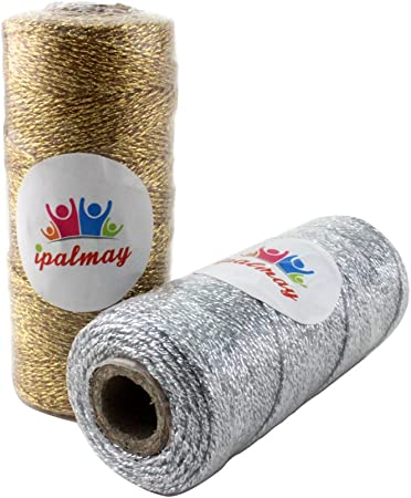 Glitter and Sparkle Christmas Gift Wrap Gold and Silver METALLIC Bakers Twine