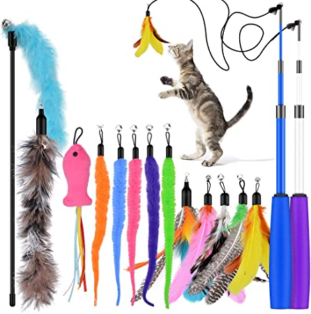 Oziral Cat Teaser: 15PCS Retractable Cat Toy Feather Teaser