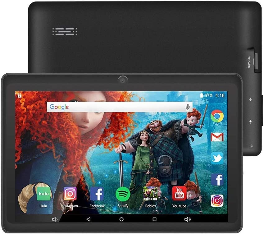 7 inch Tablet Google Android 10 Quad Core 1024x600 Dual Camera Wi-Fi Bluetooth 16GB Play Store Netfilix Skype 3D Game Supported GMS Certified (Black)