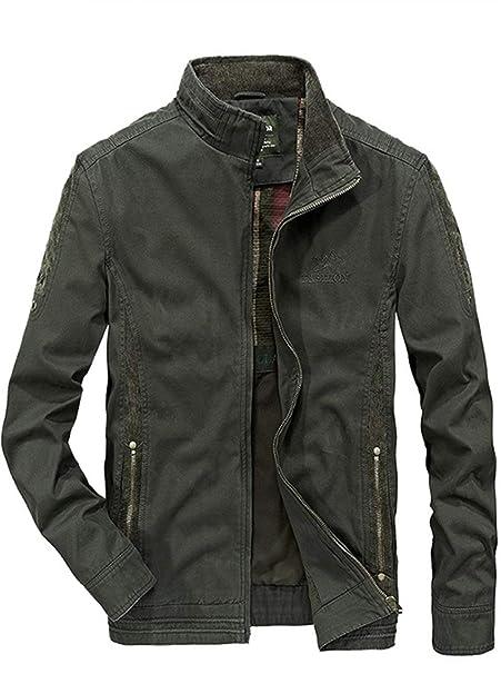 Alessioy Cuello Alto Clásico del Los Chic Algodón Chaquetas Jacket del Hombres Ligeras 100% Ocio