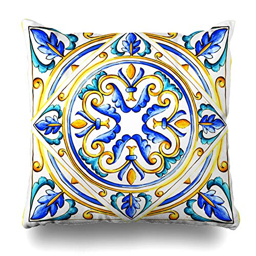 Ahawoso Throw Pillow Covers Blue Abstract Italian Majolica Tiles Floral Vintage Green Black Color Flower Glass Graphic Pattern Home Decor Pillow Case Square Size 18 x 18 Inches Zippered Pillowcase