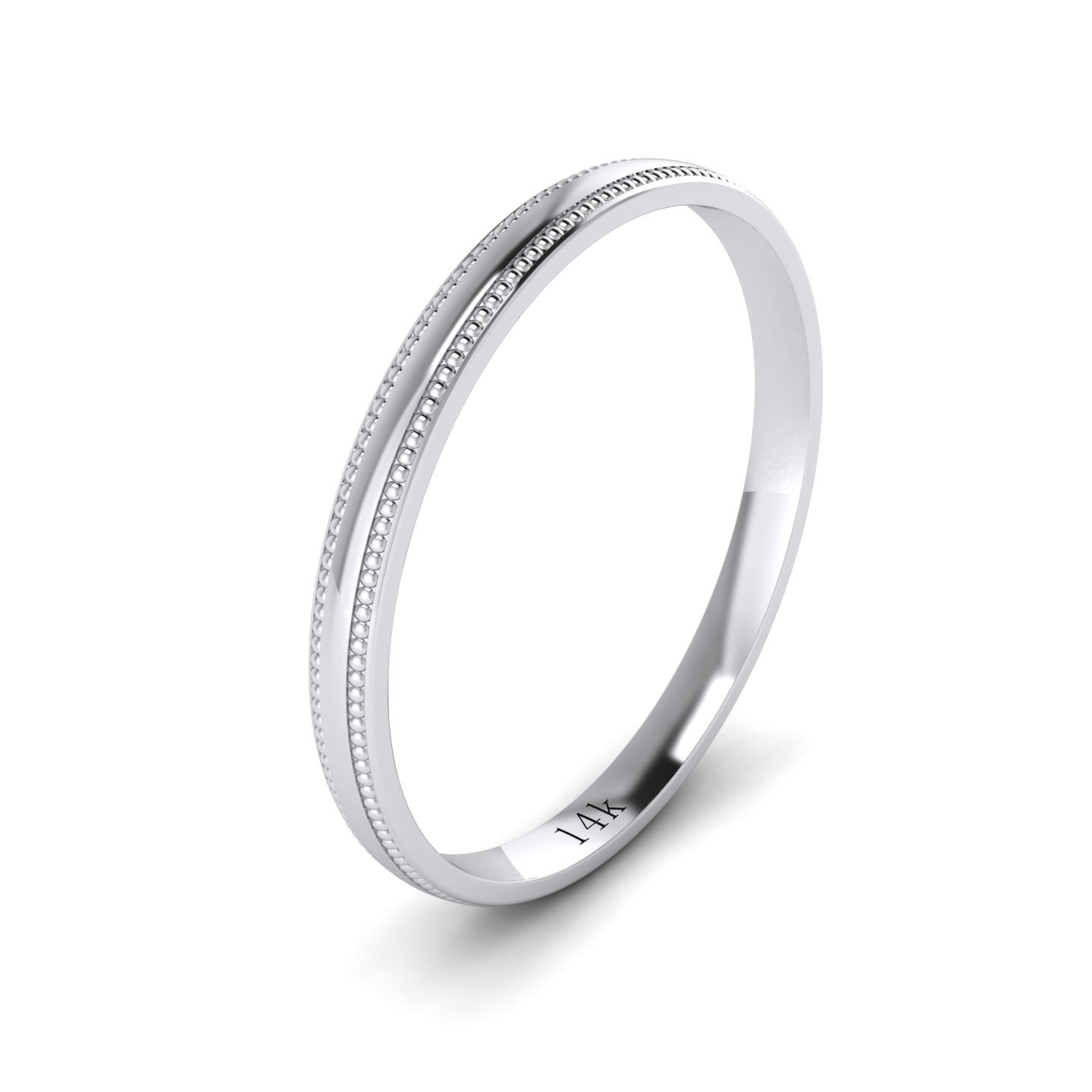 LANDA JEWEL Unisex 14k White Gold 2mm Light Court Shape Comfort Fit Polished Wedding Ring Milgrain Band (6) by LANDA JEWEL (Image #1)