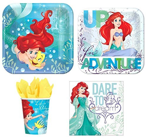 Disney Little Mermaid Princess Ariel Value Pack Birthday Party for 8 guests ( Plates, Cups, - Little Ariel Party Mermaid