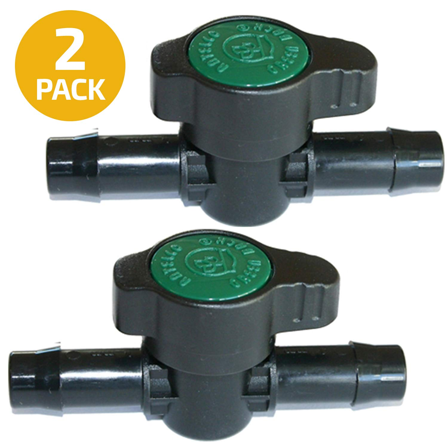 2-Pack in-Line Coupling Barbed Ball Valve 13mm for 1/2 inch Tubing .520 ID - Regulate Water Flow/Shut Off in Aquariums, Aquatics (NOT for Drip Irrigation) by Habitech