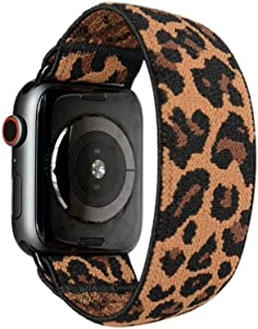 Tefeca Dark Cheetah/Leopard Pattern Elastic Compatible/Replacement Band for Apple Watch 38mm/40mm (Black Adapter, S fits Wrist Size : 6.0-6.5 inch)