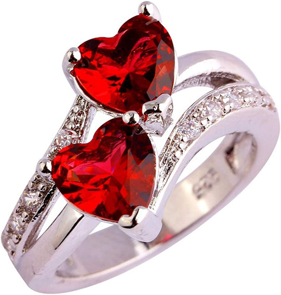 Fxbar Crystal Ring Women Fashion Double Heart Engagement Ring Jewelry New Chic Gemstone Rings for Wedding Prom Party