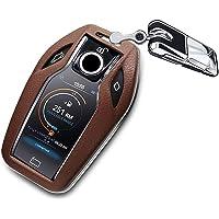 ontto for BMW Leather Car Smart Key Cover Key Holder with Key Chain fits 2016 2017 BMW 7 Series 740i 750Li 750D 760Li…