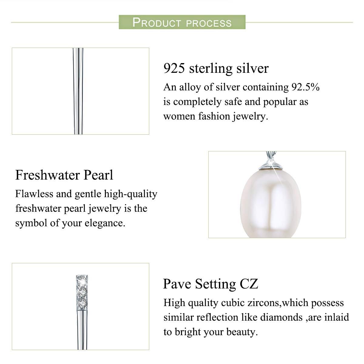 PEARLOVE Pearl Drop Stud/Earrings 925 Sterling Silver Long Dangle Earring Freshwater Pearls Gift for Her PEW00030