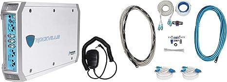 Rockville RXM-F3 1600 Watt Peak//800w RMS Marine//Boat 4 Channel Amplifier+Amp Kit