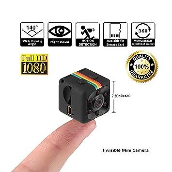 HankerMall Mini cámara SQ11 HD Videocámara 3.6mm Visión Nocturna FOV140 1080P Deportes Mini DV Video
