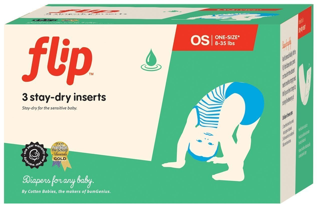 Flip Reusable Stay-Dry One-Size Inserts - Fits Babies from 8 to 35+ Pounds - Pack of 3 by Flip