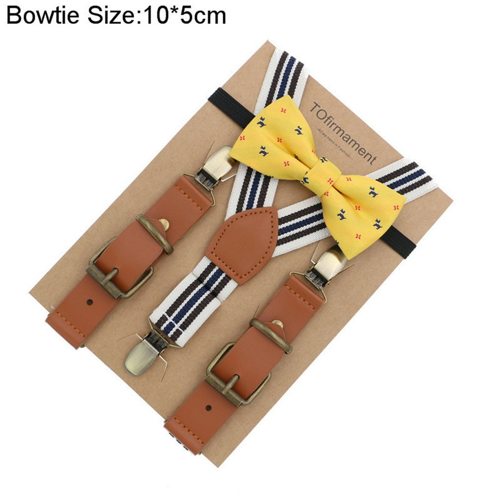 Love Leather Shape Kids Suspender Bow Tie Ring Bear Boy Packed Gift Adjustable 11