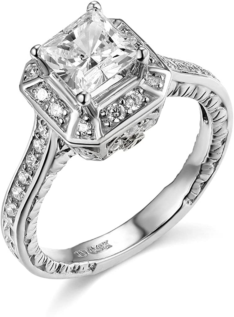 TWJC 14k Yellow OR White Gold Solid Princess Square Wedding Engagement Ring