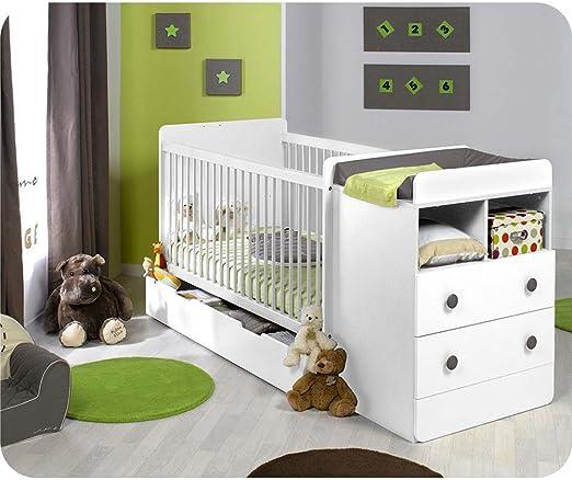Mobikids - Pack cuna evolutiva MALTE blanca con colchón: Amazon.es: Bebé